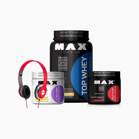 Top Whey 3w (900g) + Max Pump (240g) + Bcaa Drink (280g) + GRÁTIS FONE - Max Titanium