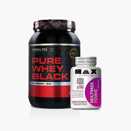 Pure Whey Black (900g) - Probiótica VENC(03/2018) - GRÁTIS Multimax Femme (60 caps)