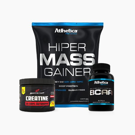 Combo Massa Muscular -  Hiper Mass Gainer 1KG + BCAA Pró Series 60 Caps + CREATINA 20-DAYS AUTONOMY (70G)