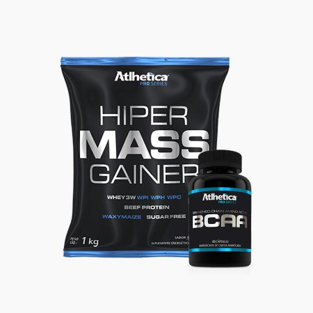 Hiper Mass (1kg) + BCAA Pro Series (60caps) - Atlhetica Nutrition