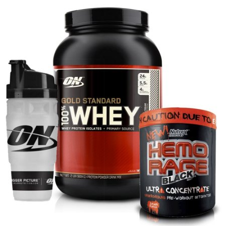 Kit Gold Standard 2lb + Hemorage Black + Shaker Exclusivo ON