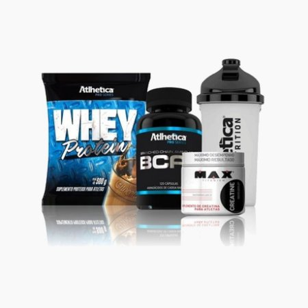 Kit Whey Protein 500g Atlhetica + BCAA Pro Series + Creatina Max