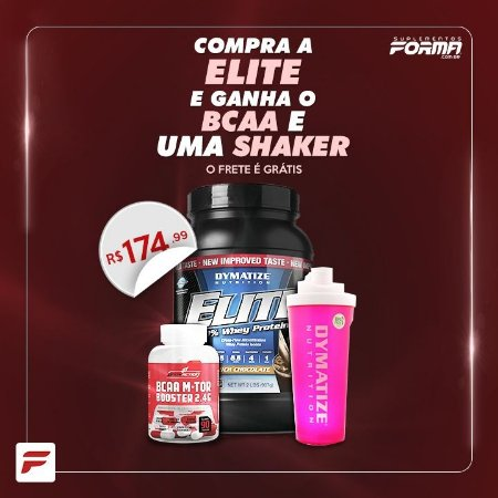 Elite Whey Protein (907g) + BCAA + Shaker PInk - Dymatize