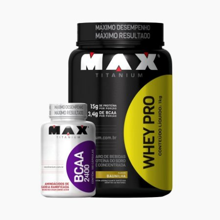 Whey Pro Max 1kg (Grátis BCAA 100caps) - Max Titanium