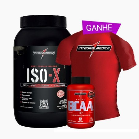 Iso-x 900g + Bcaa Fix 120 Caps + Camisa Dry Fit Integral Medica