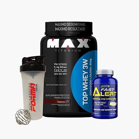 Top Whey 3w (900g) + Fast Alert (100 tabs) + Shaker Forma - Max titanium