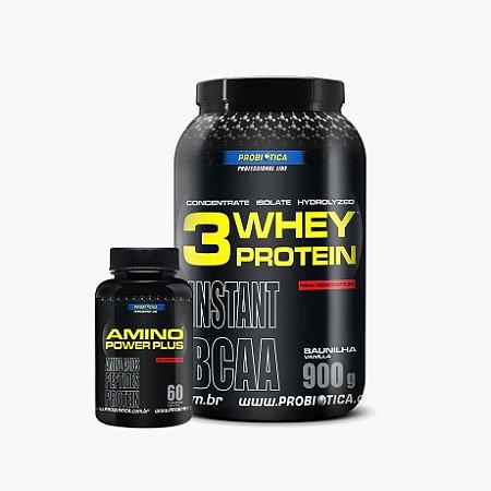 Whey 3w Probiótica (900g) - Grátis Amino Power Plus (60 caps) - Probiótica