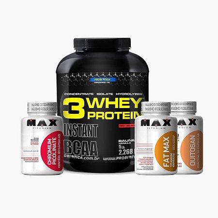 Whey 3w (2,3kg) + Fat Max(120caps) + Quitosana(60caps) + Cromo(60caps) - Max titanium
