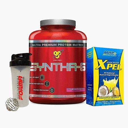 Syntha 6 (2kg) + Xpel (20sachês) + Shaker Forma - BSN