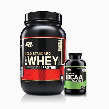 Bcaa 400 Caps Optimum + Whey Gold Standard 2LB - Optimum Nutrition