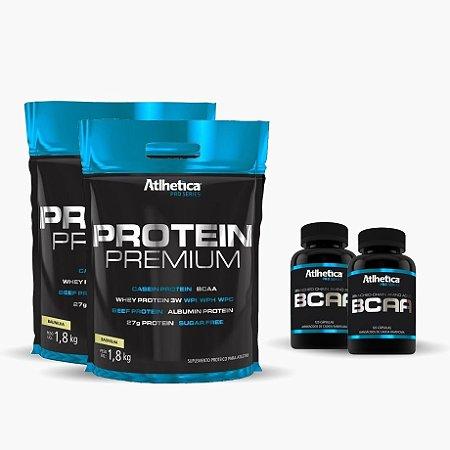 2X Protein Premium (1800g) - GRÁTIS 2X Bcaa Pro Series 60 caps - Atlhetica Nutrition