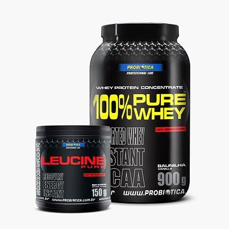 100% Pure Whey (900g) + Leucina (150g) - Probiótica