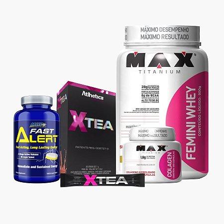 Femini Whey + Xtea + Fast Alert + Colageno - Max Titanium