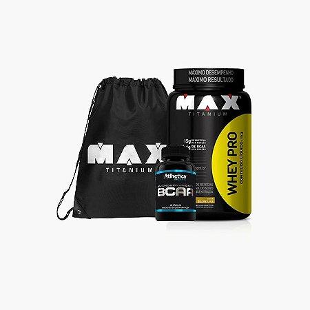 Whey Pro Max (1Kg) + BCAA Pro Series + Bag Max Titanium