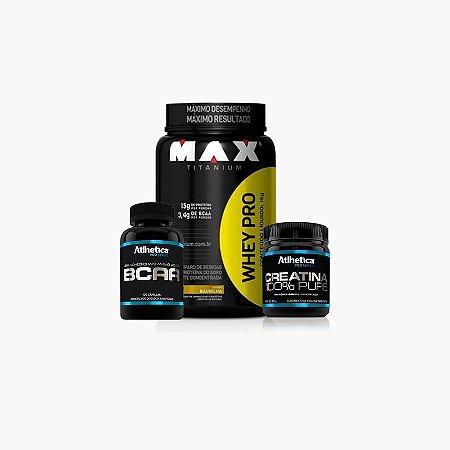 Whey Pro Max (1kg) + Creatina Pro Series  + BCAA Pro Series  - Atlhetica