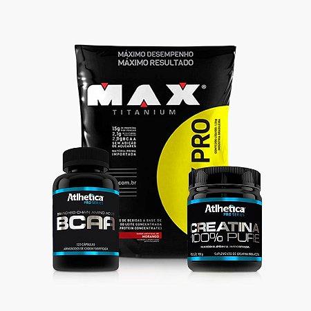 Whey Pro Max (1,5kg) + Creatina Pro Series + BCAA Pro Series - Max Titanium
