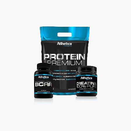 Protein Premium (1,8Kg) + BCAA Pro Series(120caps) + Creatina Pro Series - Atlhetica Nutrition
