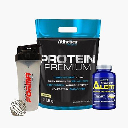 Protein Premium Refil (1,8kg) + Fast Alert (100 tabs) + Shaker Forma - Atlhetica Nutrition