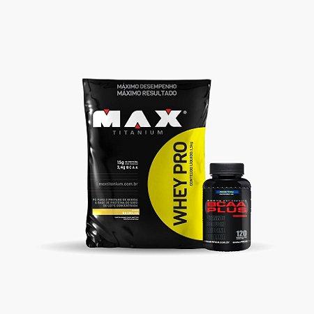 Whey Pro Max (1,5 kg) + Bcaa Plus (120 caps) - Max Titanium