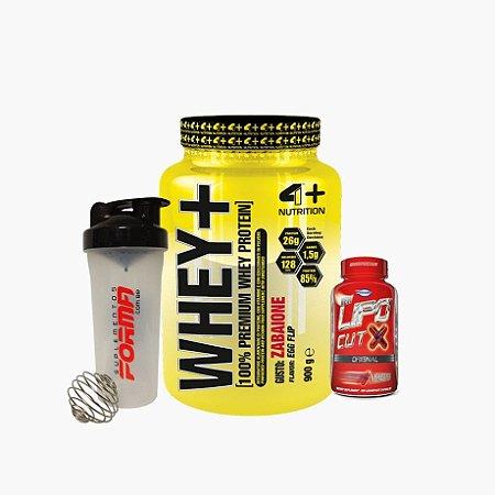 Whey+ (900g) + Lipo Cut X (120caps) + Shaker Forma - 4 Plus Nutrition