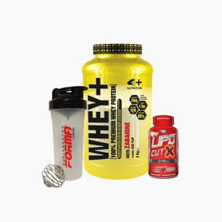 Whey+ (2000g) + Lipo Cut X (120caps) + Shaker Forma - 4 Plus Nutrition