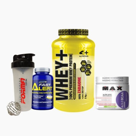 Whey+ (900g) + BCAA Drink (280g) + Fast Alert (100tabs) + Shaker Forma - 4 Plus Nutrition