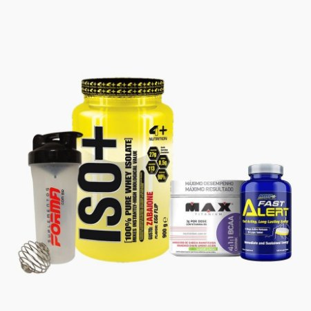 Iso+ (900g) + BCAA Drink (280g) + Fast Alert (100tabs) + Shaker Forma - 4 Plus Nutrition