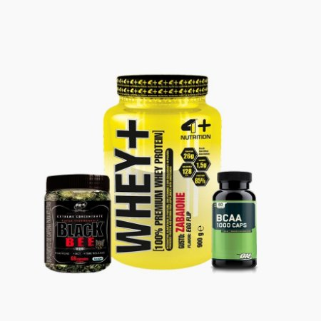 Whey+ (900g) + BCCA ON (60caps) + Black Bee (60caps) - 4 Plus Nutrition