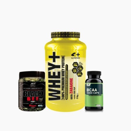 Whey+ (2000g) + BCCA ON (60caps) + Black Bee (60caps) - 4 Plus Nutrition
