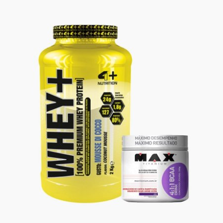 Whey+ (2kg) + Bcaa Drink (280g) - 4 Plus