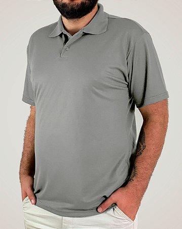 Camiseta Polo Cinza Claro, Extra Grande, Poliviscose
