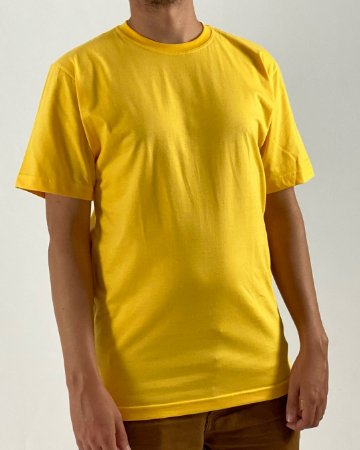 Camiseta Amarelo Ouro, 100% Algodão, Fio 30.1 Penteado