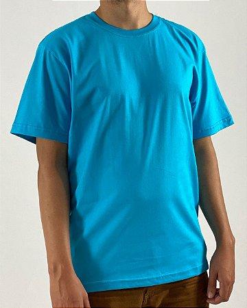 Camiseta Azul Turquesa, 100% Algodão, Fio 30.1 Penteado