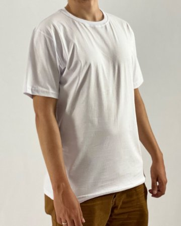 Camiseta Branca, 100% Algodão, Fio 30.1 Penteado