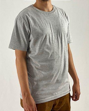 Camiseta Cinza Mescla, 100% Algodão, Fio 30.1 Penteado