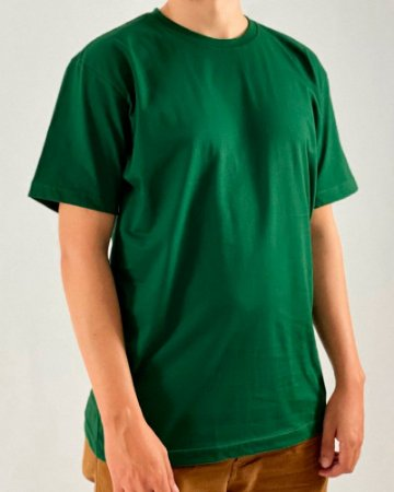 Camiseta Verde Musgo, 100% Algodão, Fio 30.1 Penteado