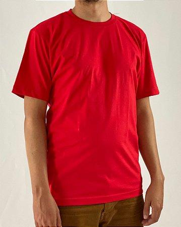 Camiseta Vermelho, 100% Algodão, Fio 30.1 Penteado