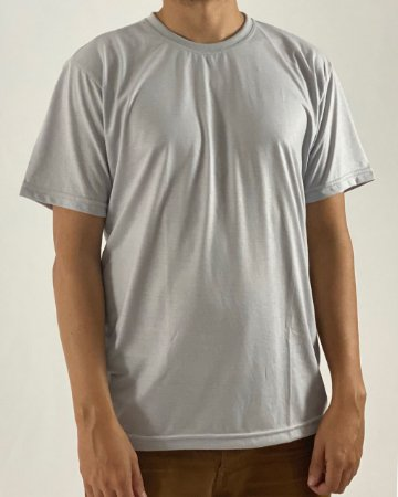 Camiseta Cinza Claro, 100% Poliéster