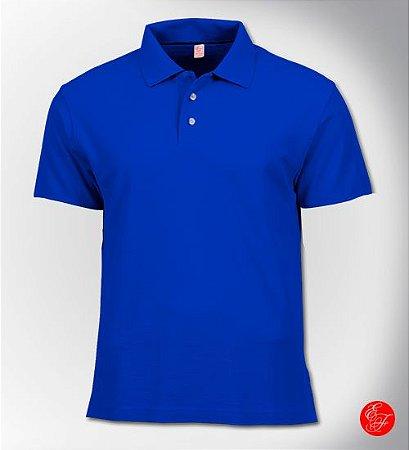 Camiseta Polo Azul Royal, Malha Piquet