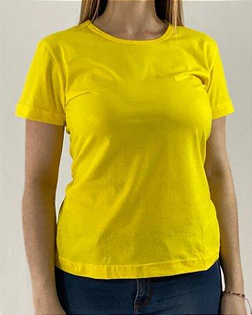 Baby Look Amarelo Canário, 100% Algodão, Fio 30.1 Penteado