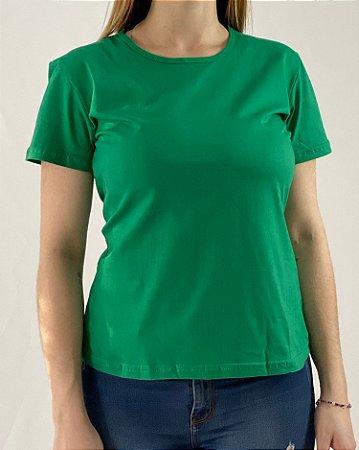 Baby Look Verde Bandeira, 100% Algodão, Fio 30.1 Penteado