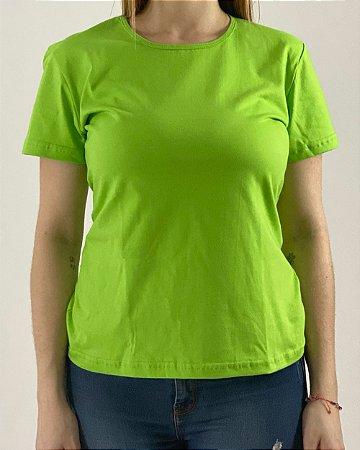 Baby Look Verde Limão, 100% Algodão, Fio 30.1 Penteado