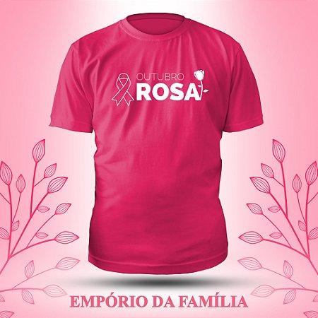 Camiseta Outubro Rosa, 100% Algodão, Fio 30.1 Penteado
