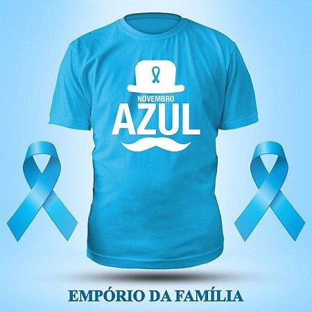 Camiseta Novembro Azul, 100% Algodão, Fio 30.1 Penteado