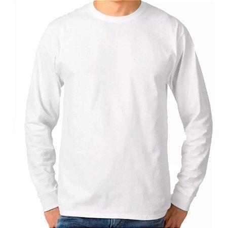 Camiseta Manga Longa Branca - 100% Algodão, Fio 30.1 Penteado