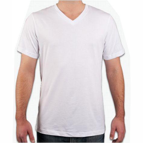 Camiseta Gola V Branca, 100% Algodão, Fio 30.1 Penteado