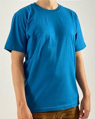 Camiseta Azul Petróleo, 100% Algodão, Fio 30.1 Penteado