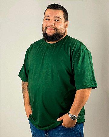 Camiseta Verde Musgo, Extra Grande, 100% Algodão, Fio 30.1 Penteado