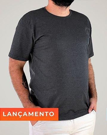 Camiseta Cinza Chumbo Mescla, 100% Algodão, Fio 30.1 Penteado