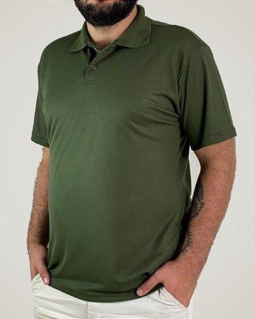 Camiseta Polo Verde Musgo, 100% Poliviscose